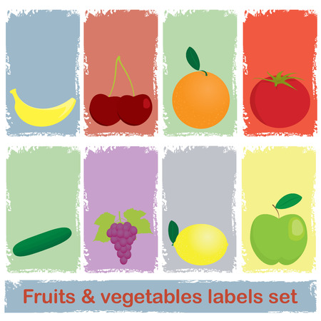 tomato cartoon: Fruits and vegetables labels set