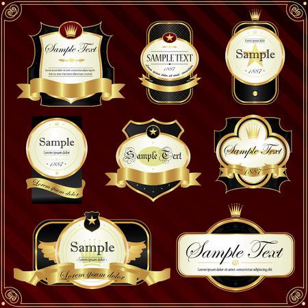 Detailed ornate vintage label set. Vector