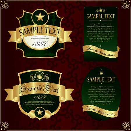 Detailed ornate vintage label set. Vector