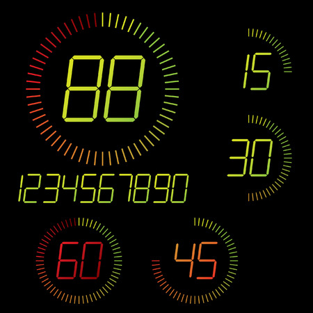 the interval: Digital timer illustration. Easy editable 15 min interval timer icons and digits set