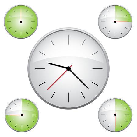 Clock illustration. Easy editable 15 min interval timer icons