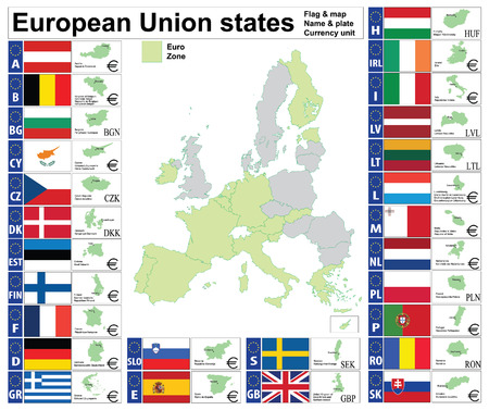 European Union states complete collection: map, plate, name, currency unit. Vector