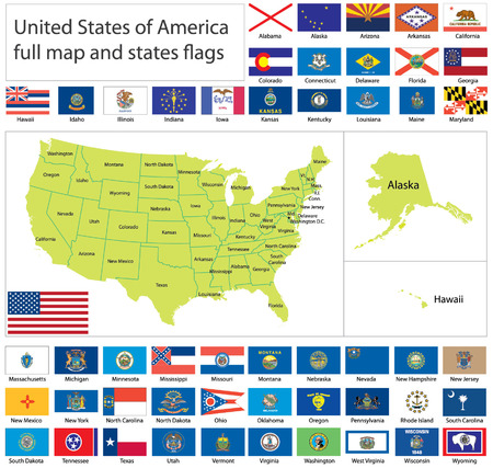 United States of America states flags collection with full map. Vector