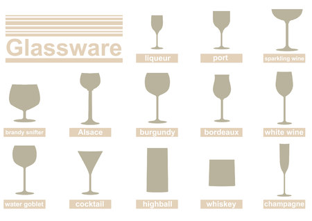 cristalería: Conjunto de siluetas vector de vasos de alcohol y bebidas. Vectores