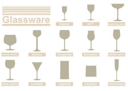 Set di vector silhouettes di bicchieri di alcol e bevande.