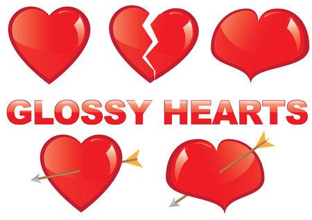 Set of glossy hearts Stock Vector - 9079635