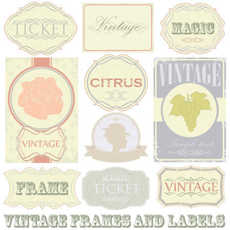 Detailed vintage label set. All elements (including grunge) easy editable and removable. Vector