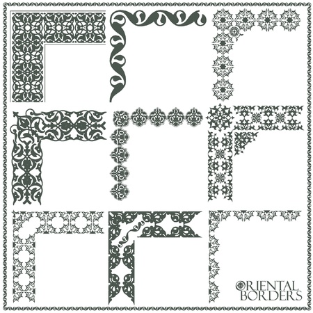 Oriental style ornament elements. All components are easy editable and can be assembled. Stock Vector - 10605584