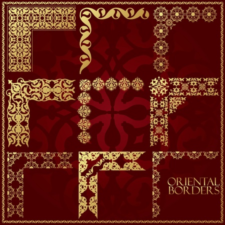 Oriental style ornament elements. All components are easy editable and can be assembled.  Vector