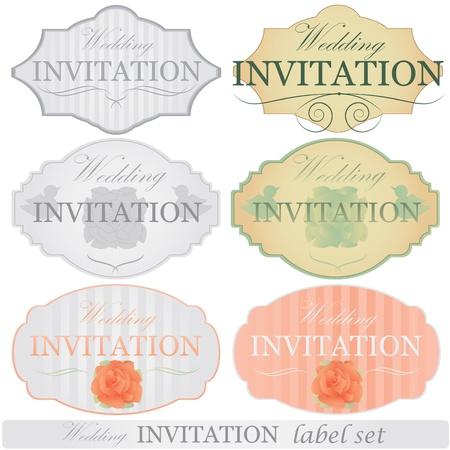 Conjunto de etiquetas de invitación de boda Ilustración de vector