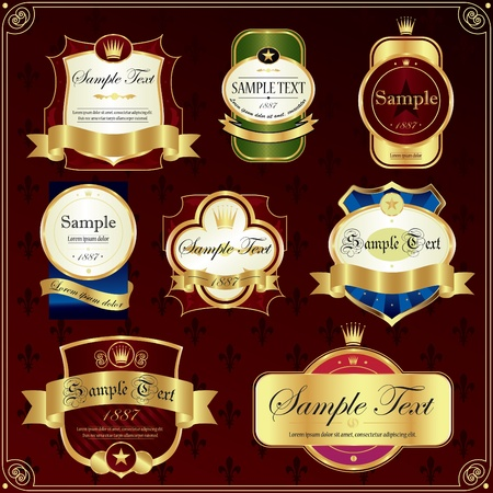 wijn en spijzen: Gedetailleerde sierlijke verschillende kleuren label in te stellen. Stock Illustratie