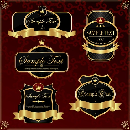 nobility: Detailed ornate vintage label set.