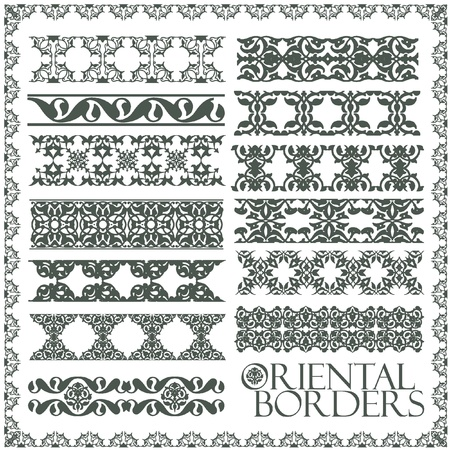 Oriental style ornament elements. All components are easy editable and can be assembled. Illustration