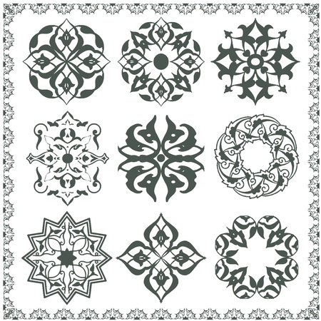 oriental: Oriental style ornament elements. All components are easy editable and can be assembled.