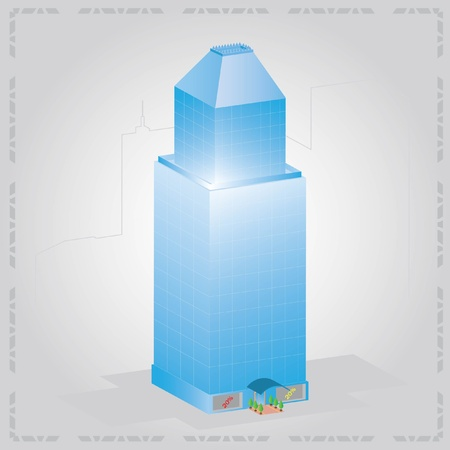 Blue contemporary glass skyscraper Vector
