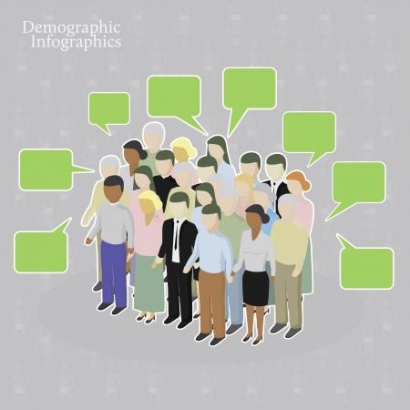 Demographic infographics. Crowd with speech bubbles Векторная Иллюстрация