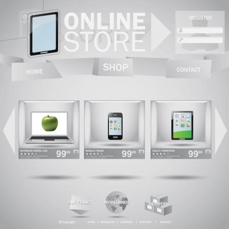 Boutique en ligne Web notion templane avec des boîtes