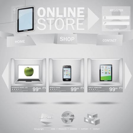 Online store web templane concept with boxes Illustration