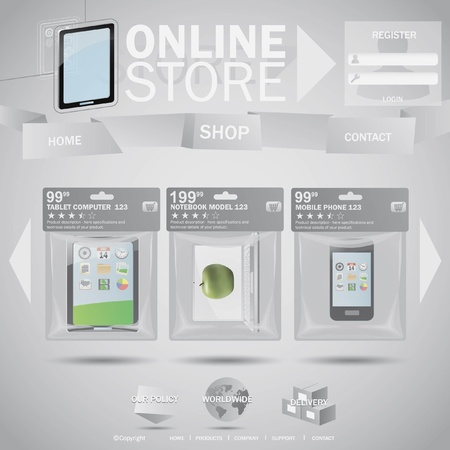 Online store web templane concept with plastic bags Vector