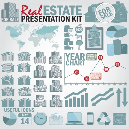real estate icons: Real estate presentation kit. Graph and charts, easy assembling elements and world map with separate countries.