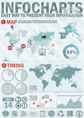 Infochart creative pack. Easy assembling elements for presentation and graph. Including world map, time zones map and set of business related icons Vector