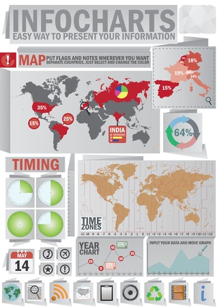 Infochart creative pack. Origmai style set. Easy assembling elements for presentation and graph. Including world map, time zones map and set of business related icons