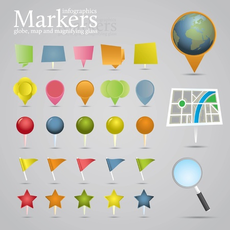 Markers, globe, map and magnifying glass. Icon set. Vector