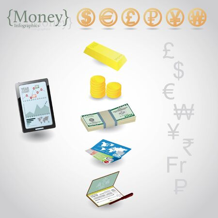 Money infographics. Currency symbols: dollar, euro, pound, ruble, yen, yuan, won  Illustration