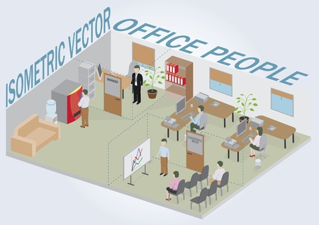 Isometric office with people. Full pack of furniture including accessories. All objects are editable. All Items are isolated and can be used as an icons.  Vector