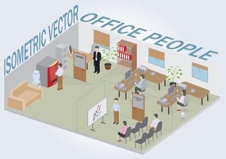 articulos oficina: Oficina isom�trica con personas. Paquete completo de muebles, incluidos los accesorios. Todos los objetos son editables. Todos los elementos est�n aislados y pueden utilizarse como un iconos.
