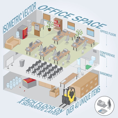 isométrica: Isometric 3 level office. Each level on a separate layer. Full pack of furniture including accessories. All objects are editable. All Items are isolated and can be used as an icons.