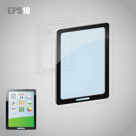 Tablet computer design. Perspectief en plat. Stock Illustratie