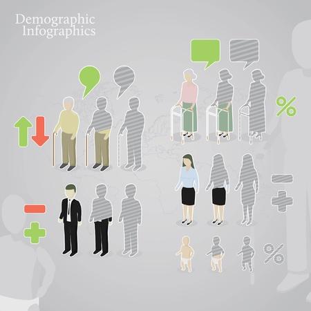 demographic: Infografica demografico. Icone di persone tra cui uomini, donne, Oldman, oldwoman e il bambino fatto in un stili diversi. pi� segni di operazione e fumetti. Vettoriali