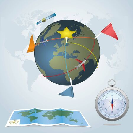 Travel concept. Globe with routes with flags and marks. Paper map and compass.