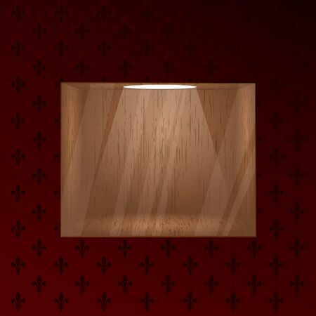 Empty wooden shelf for exposition. Light effect. Glass effect on a separate layer. Illustration