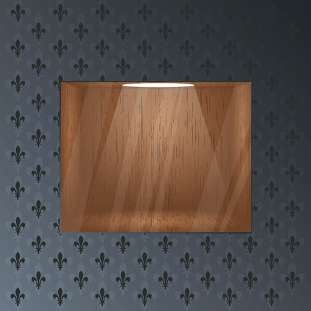 Empty wooden shelf for exposition. Light effect. Glass effect on a separate layer. Vector