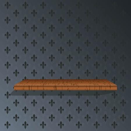 �tag�re bois: Plateau en bois sur un fond d'�cran bleu Illustration