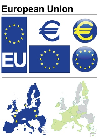 European Union collection including flag, plate, map (administrative division), symbol, currency unit & coat of arms  Vector
