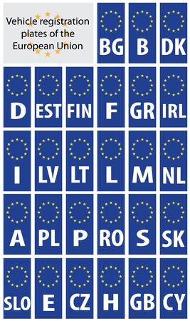 evropský: SPZ z Evropské unie, uvádí se zkratkami kód země.