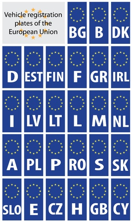 european union: Vehicle registration plates of European Union states with country code abbreviations.
