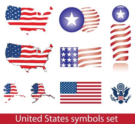 aguila americana: Conjunto de símbolos de Estados Unidos de América. Icono bandera, mapa, escudo, insignia y persona.