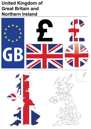United Kingdom collection including flag, plate, map (administrative division), symbol, currency unit, glossy button. Vector