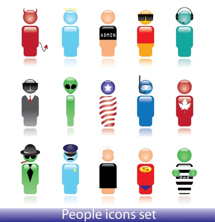 mobster: Set of people icons. Can be used as a web button or avatar.