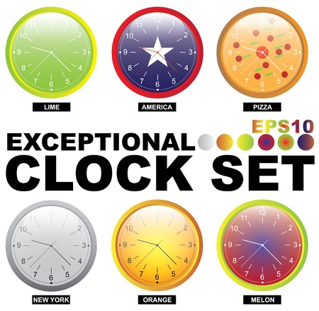 Fully editable EPS10 clock set. All components including transparency are removable.