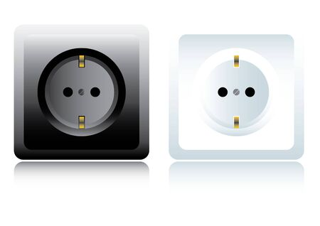 electrical outlet: Power outlet. Black and white