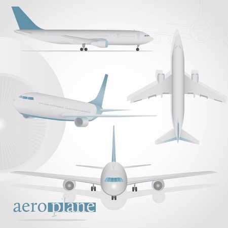 Aeroplane in different positions. Top view, flying, take off, front view, side view. Vector