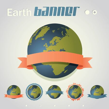 Planet Earth with ribbon banner around it. Six different styles. Illustration