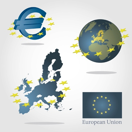 European union symbols concept. Euro sign, map of europe and globe with highlated union. Surrounded by stars. Illustration