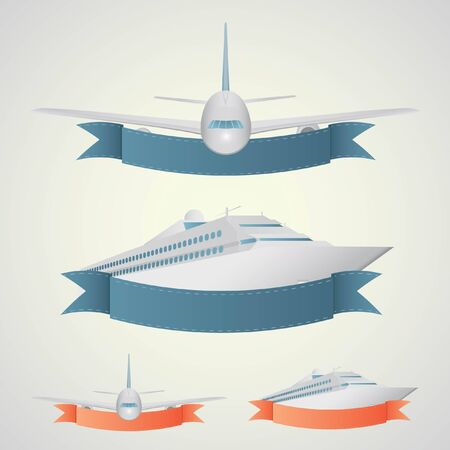 cruise travel: Plane and ship banners. In a blue and red colors.