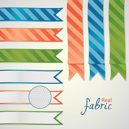 Real fabric ribbon collection. Blue, red and green colors. Illustration